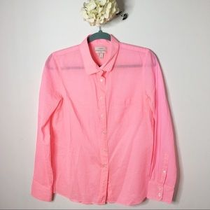 J.Crew Neon Pink Boy Fit Button Down